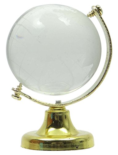 Mini World Globe Crystal Glass Clear Frosted Paper Weight Table Decor (Crystal World Crystal Globe)
