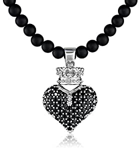 """King Baby 3D Pave Black Crowned Heart Pendant Necklace On 18"""" Onyx Bead Necklace"""