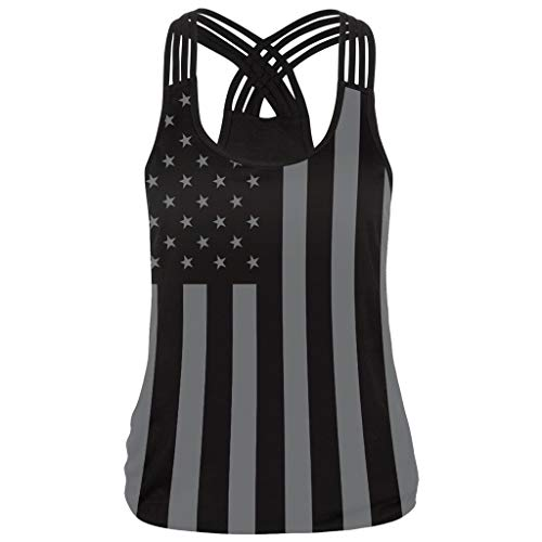 (Tank Tops for Women,Sunyastor Women Stripe America Flag Printed O-Neck Sleeveless Tank Up Backless Blouse)