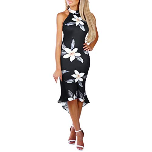 Alangbudu Women Halter Off The Shoulder High Low Asymmetrical Gown Ruffle Hem Floral Print Bodycon Midi Pencil Dress Black by Alangbudu-Dresses (Image #1)