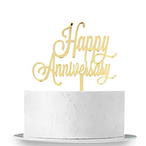 INNORU TM Happy Anniversary Cake Topper - Gold Mirror Wedding Anniversary,Birthday Party Decoration Photo Props