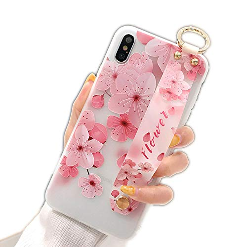 (Soft Silicone Phone Case for Samsung Galaxy S8 S9 S10 Plus S10e Note 8 9 Phone Holder Case Flower Wrist Strap Cover,Pink,for Samsung S10e)
