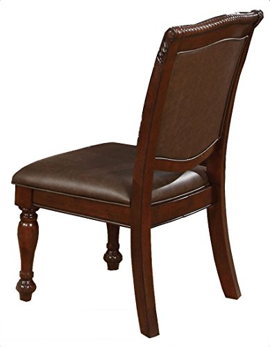 Best Quality Furniture D30SideCh Side Chair Best Quality Faux Leather Upholstered Cappuccino (Set of 2), Cherry