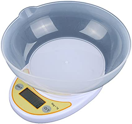 Báscula de cocina alimentos fruteria digital precision,Roeam Balanza electronica nutricional peso de cocina pequeño con Cuenco,5 kg