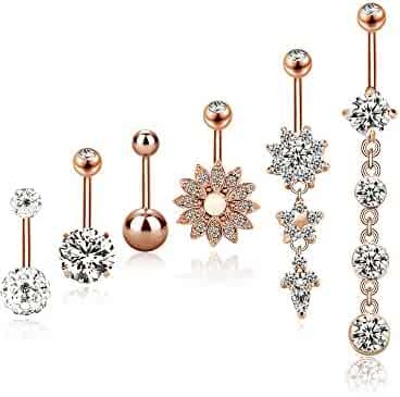 BBTO 6 Pieces 14G Stainless Steel Belly Button Rings Navel Curved Barbell Piercing for Women, 6 Styles