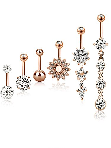 (BBTO 6 Pieces 14G Stainless Steel Belly Button Rings Navel Curved Barbell Piercing for Women, 6 Styles (Rose Gold))