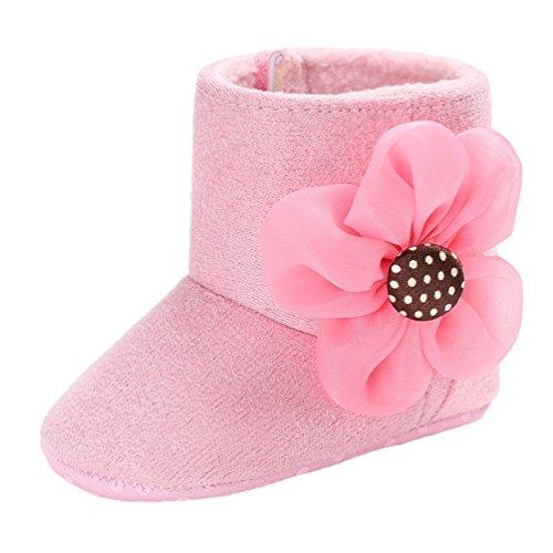 YiJee Baby Mädchen Classic Blume Schuhe Herbst und Winter Niedlich Kinderschuhe mit Weiche Sohlen Pink