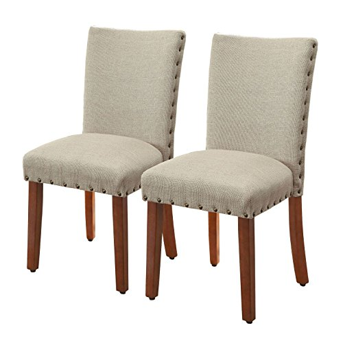 Dining Room Upholstered Bench - HomePop Parsons Upholstered Accent Dining Chair with Nailheads, Set of 2, Burlap
