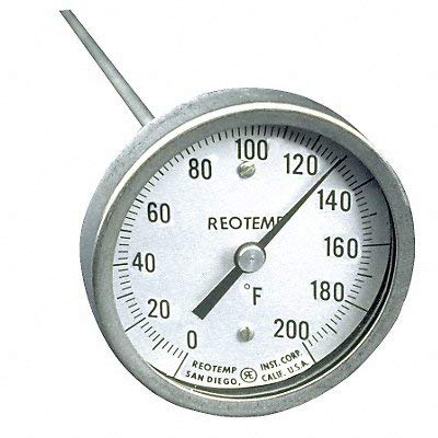 Reotemp Bimetal Thermom 3 in Dial 0 to 200F