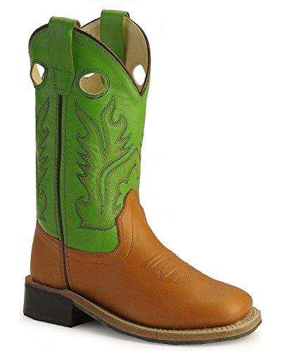 Calfskin Boots Cowboy (Old West Boys' Corona Calfskin Cowboy Boot Square Toe Cognac 9 D(M) US)