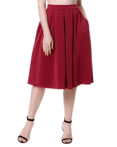 Mixfeer Women's High Waisted A Line Pleated Skirt Side Zipper Flared Midi Skirts with Pockets