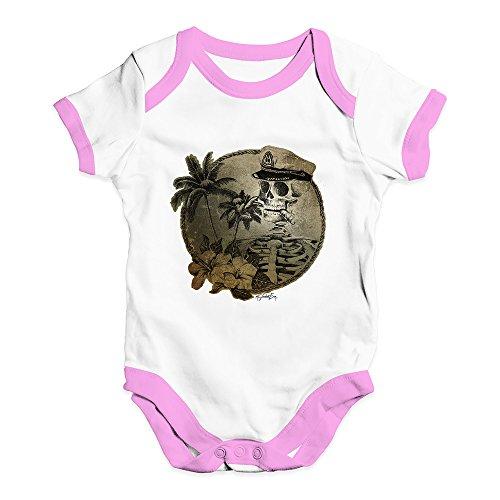TWISTED ENVY Baby Grow Onesie Skeleton Sailor White Pink Trim 3-6 Months