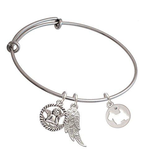 Silvertone Scottie Dog Silhouette Angel Expandable Bangle Bracelet