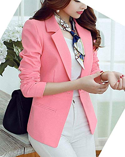 Giacca Autunno Blazer Tasche Bavero Primaverile Colore Business Moda Lunga Con Button Da Tailleur Alla Manica Eleganti Giacche Ufficio Puro Grazioso Cappotto Donna Pink 0wm8nNvO