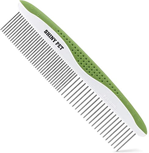 Dog Comb for Removes Tangles and Knots – Cat Comb for Removing Matted Fur – Grooming Tool with Stainless Steel Teeth and Ergonomic Grip Handle – Pet Hair Comb for Home Grooming Kit – Ebook Guide