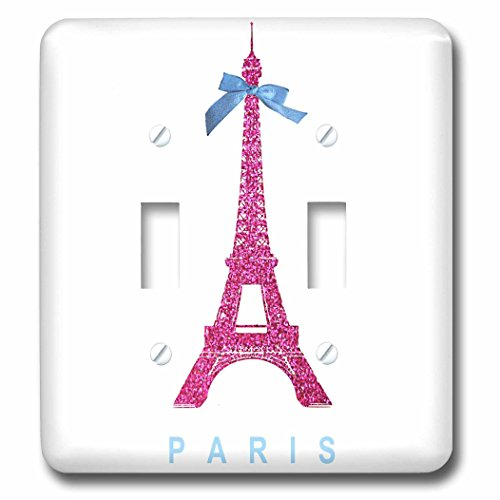 3dRose lsp_112907_2 Hot Pink Eiffel Tower from Paris with girly blue ribbon bow White stylish Parisian France souvenir Double Toggle Switch (Bow Toggle)