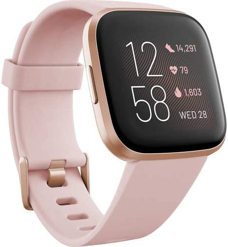 Fitbit Versa 2 Smartwatch with Band (Petal/Copper Rose Aluminum) Bundle with Power Bank, 2-Port USB Car Adapter, Two USB Wall Adapters, 6Ave Cleaning Kit, and 1 Year Extra Warranty