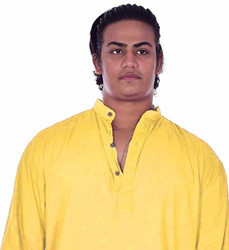 Lakkar Haveli Indian 100/% Cotton Men/'s Shirt Kurta Plus Size Loose fit Solid Yellow Color