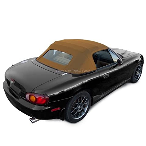 Mazda Miata MX5, 1990-2005 Factory Style Convertible Top, Non-Zippered Heated Glass Window, Cabrio Vinyl, Tan