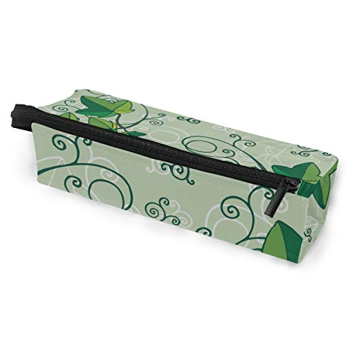 Pen Holder/Stationery Cosmetic Makeup Bag Pouch Round Case Ivy Hand Painted Vintage Spring Minimalist Print Polyester Zipper Pencil Bag Multi-Function Glasses Storage ()