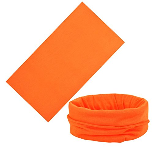 (Face Shields, Face Mask, Magic Scarf, Neck Gaiter, Bandana, Balaclava, Headband for Cycling, Motorcycling, Running, Skateboarding, Moisture Wicking UV Protection, Great for Men & Women (Orange))