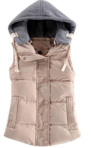 古代礼儀ブレーキWAYA- 女性の冬の厚いウォームボタンフード付きダウンベスト