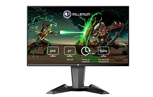 Millenium MD27PRO – Monitor Gaming para e-Sport de 27″ QHD 144hz con 1ms (2560 x 1440p, TN, 16:9, 3 x HDMI, Display Port, Sin Marco, Ajustable en Altura y Giro) Color Negro