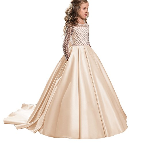 d281f45341b AbaoSisters Princess Flower Girl Dresses Lace Long Sleeve Satin Kids Puffy  Ball Gown Size 10 Champagne