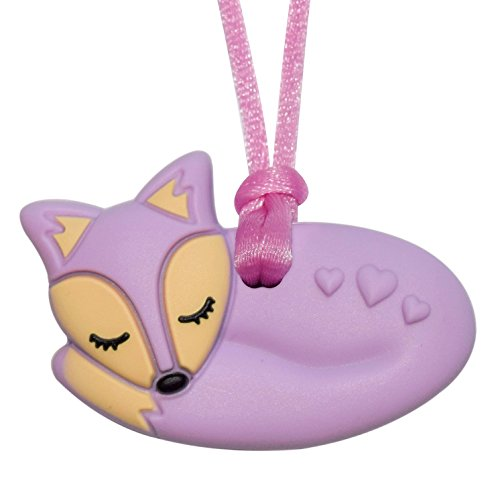 Munchables Foxy Fox Chewy Necklace - Kids' Sensory Chewelry (Purple (Solid)) by Munchables Chewelry