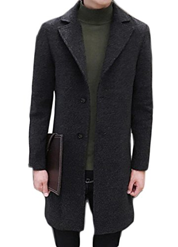 KLJR Mens Classic Topcoat Knee Length Trench Coat Overcoat Black US 3XL