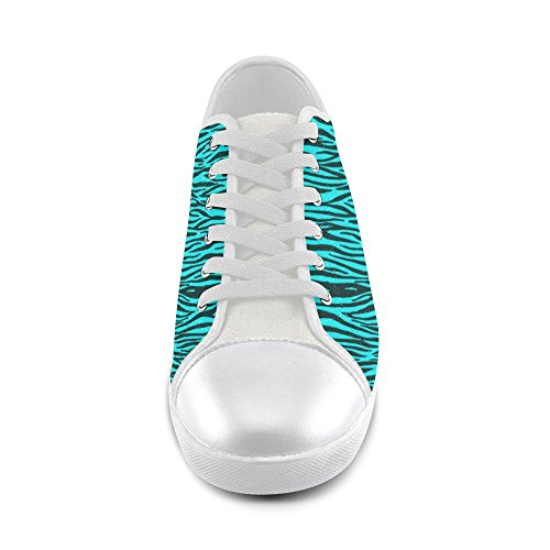 D-histoire Personnalisé Turquoise Zèbre Rayures Chaussures De Toile Pour Femmes (modèle 016)