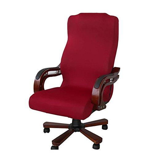 Office Chair Cover,TOPCHANCES Office Modern Elastic Computer Elastic Stretch Universal Boss Chair Cover, Easy Washable Removeable Chair Protector Cover L Size(Chair Not Include) (Red) by TOPCHANCES