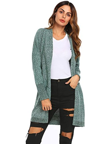 Drape Kimono Off Shoulder - Soteer Womens Kimono Casual Open Front Long Drape Cardigan (Dark Green, L)