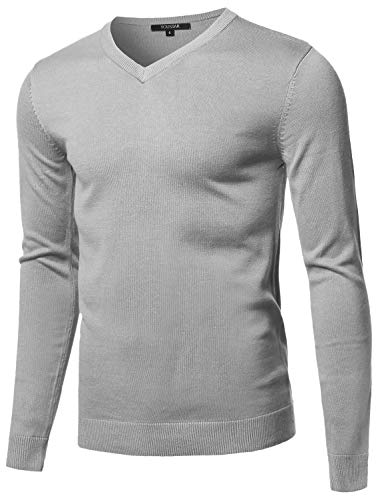 Youstar Casual Solid Soft Knitted Long Sleeve V-Neck Sweater Light Grey L