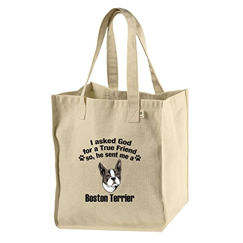 Hemp Market Tote Bag Asked God For Friend Boston Terrier Dog Style In Print