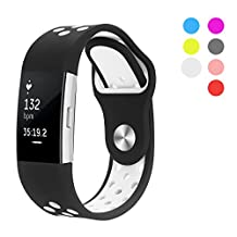 Fitbit Charge 2 Band, Hanlesi Silica gel Soft Silicone Adjustable Fashion Replacement Sport Strap Band for Fitbit Charge 2 Smartwatch Heart Rate Fitness Wristband Black Series for Man Women Girl Boy