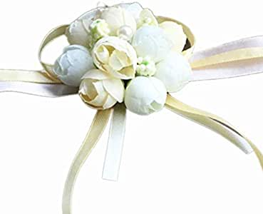 Wedding Wrist Corsage, Girl Bridesmaid Party Prom Hand Flowers for Party Engagement Decor Birthday Party