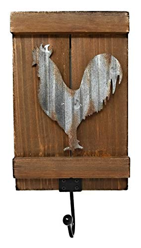 Farmhouse Country Style Home/Kitchen Decor Tin Metal on Wood Sign 3D Rooster with a Hook