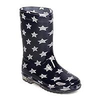 PVC Starry Night Lug Sole Rain Boot (Little Boy/Big Boy) FB24 - Navy