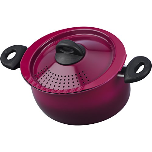 Bialetti 07549 Oval 5 Quart Pasta Pot with Strainer Lid, Black Raspberry Purple Purple Oval Pot