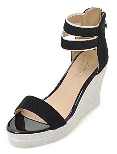 Aisun Women's Ankle Strap Wedge Sandals Zipper - Open Toe Platform Shoes - Comfort High Heel (Black, 8 B(M) US) by Aisun