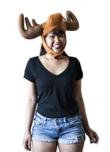 Hit Delights Moose Costume Hat with Antlers for Adults, Men, Women, Teens and Older Children. Brown -