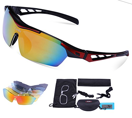 Sport Sunglasses - Carfia Polarized Sunglasses for Men and Women with 5 Interchangeable Lenses, Cycling Running Fishing Hiking Skiing Golf, TR90 Unbreakable Frame Ultra - Sunglasses Rs