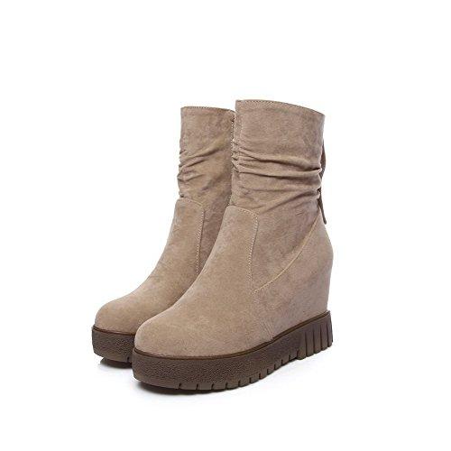 AllhqFashion Damen Hoher Absatz Rein Rund Zehe Ziehen auf Stiefel, Aprikosen Farbe, 35