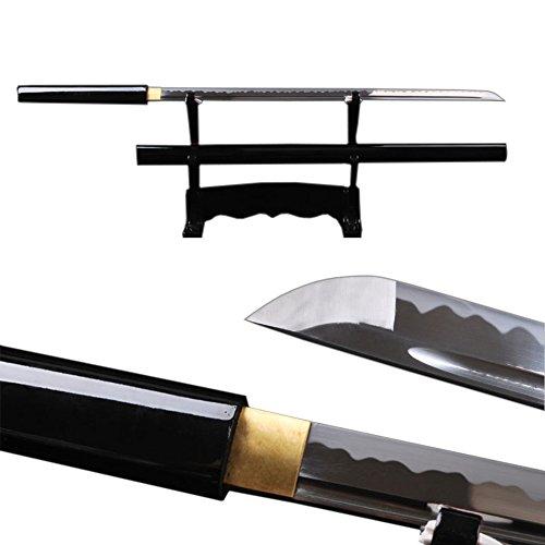 (Classic Simple Style Japanese Samurai Ninja Sword Full Tang Real Sharp Katana Straight Blade Black Lacquer)