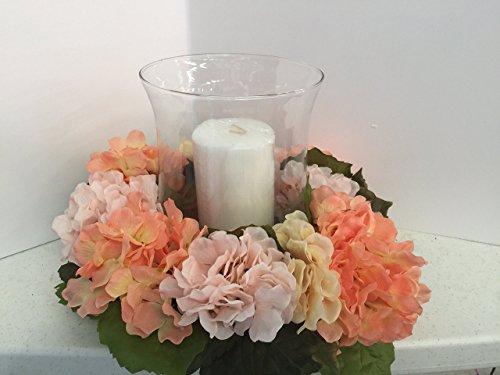ement- X large Glass Hurricane - Pink/Cream/Peach Hydrangeas ()