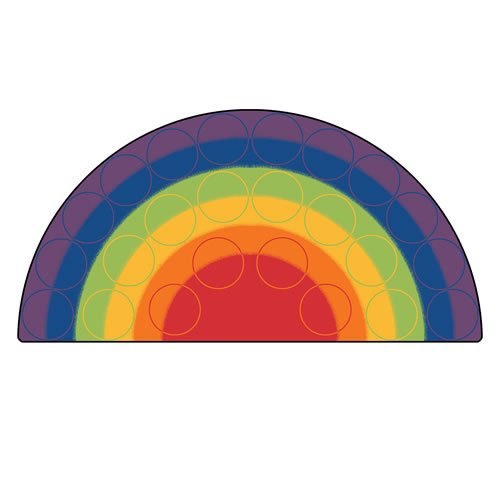 Carpets for Kids 1262 Rainbow Rows Corner Kids Rug Size: 6' x 6' x, 6' x 12' , multicolored