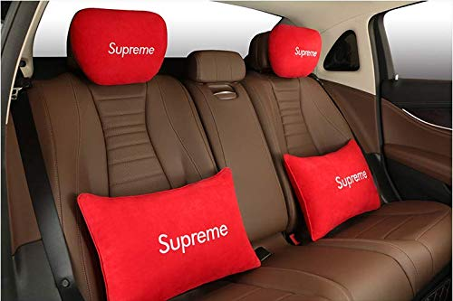 Cover Neck Supreme ([Pack of 2] Car Neck Pillow & Bolster,Supreme Auto Head Neck Rest Cushion Relax Neck Support Headrest Comfortable Soft Pillows for Travel Car Seat & Home (Red - Embroidered White))