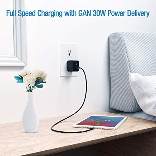 USB C Wall Charger, POWERADD 30W Fast Wall Charger (GAN Tech) Type C PD Power Adapter with Foldable Wall Plug for iPhone SE 11 XR X iPad MacBook Air iPad Pro Galaxy Pixel and More