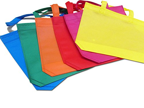 24 Pack Party Favor Tote Gift Bags with Handles - Polyester Non-Woven Material - 24 Pack - Assorted Bright Colors - Dazzling (Party Favor Bags For Kids)
